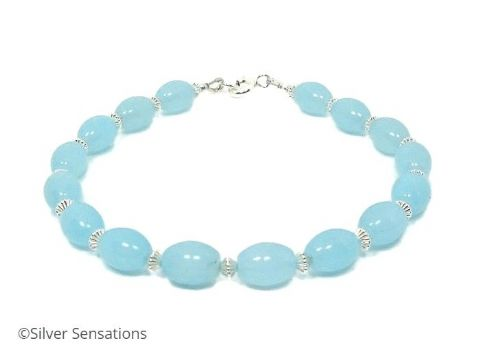 Aqua Blue Amazonite Rice Beads Bracelet With Sterling Silver Beads